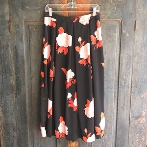 Who What Wear Birdcage Midi Skirt Rose Print 6